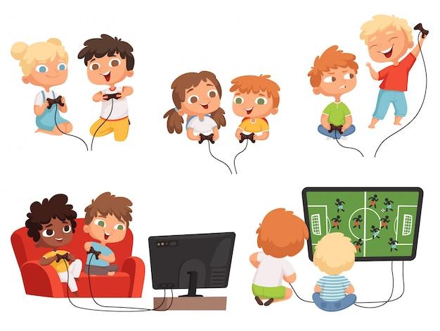 Videogames kinderen. console gaming kinderen spelen samen met joystick controllers thuis televisie leuke personages Premium Vector