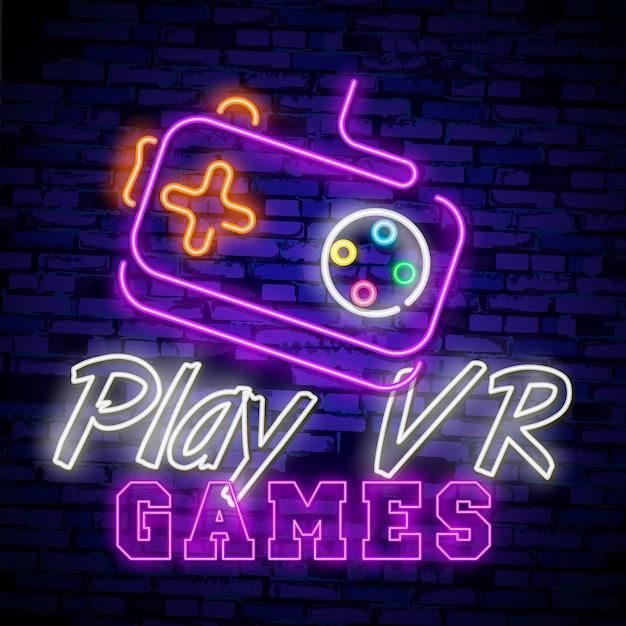 Videogames logo's neonreclame Premium Vector