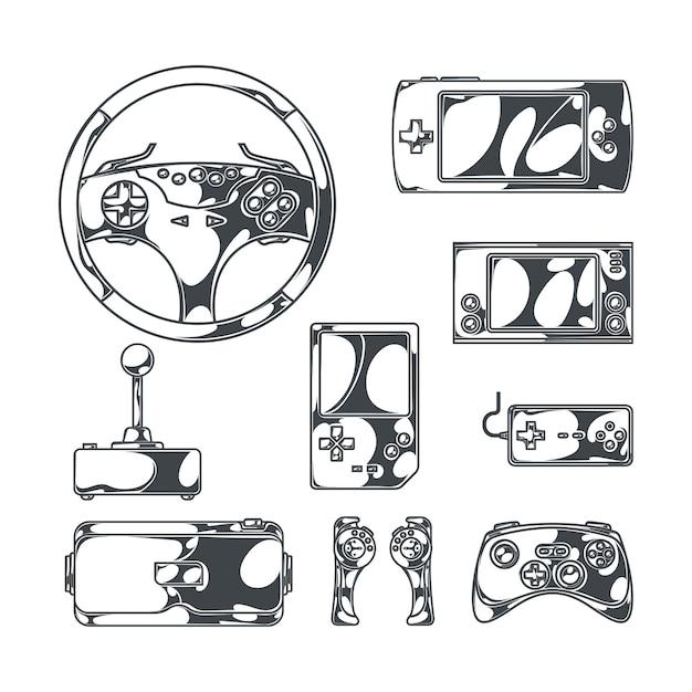 Videogames met monochrome afbeeldingen in schetsstijl van vintage joysticks, gamepads en draagbare spelapparaten Gratis Vector