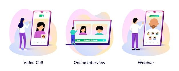 Videogesprek, online interview, webinar-smartphone en laptopgradiëntillustratie Premium Vector