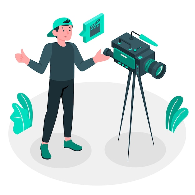 Videograaf concept illustratie Gratis Vector