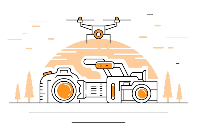 Videografie illustratie Premium Vector