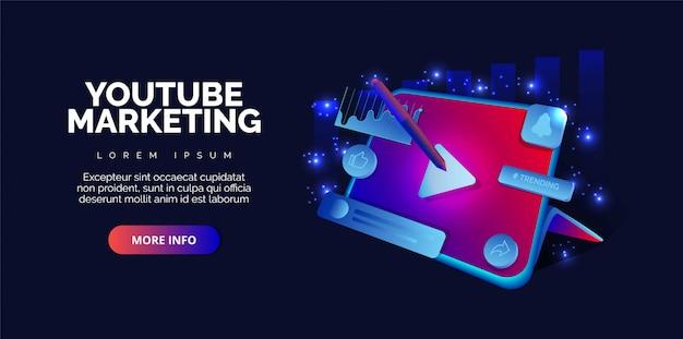 Videomarketing youtube adverteren webinar. premie. Premium Vector