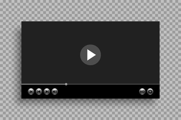 Videospeler sjabloon met glanzende knoppen ontwerp Gratis Vector