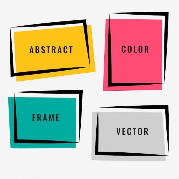 Vier abstracte kleurrijke kaderset Gratis Vector