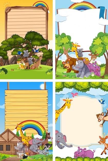 Vier achtergrondscène met raadsmalplaatje en vele wilde dieren Premium Vector