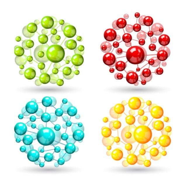 Vier atoom bollen Gratis Vector