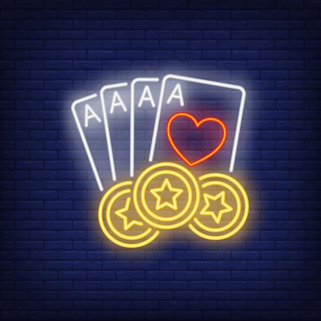 Vier azen en sterren casino chips neon teken Gratis Vector
