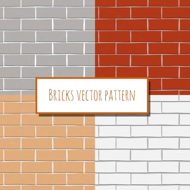 Vier bakstenen muren Gratis Vector