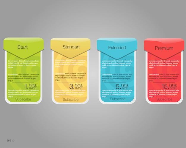 Vier banner voor de tarieven en prijslijsten. webelementen. hosting plannen. voor web-app. plan voor website in flat. Premium Vector