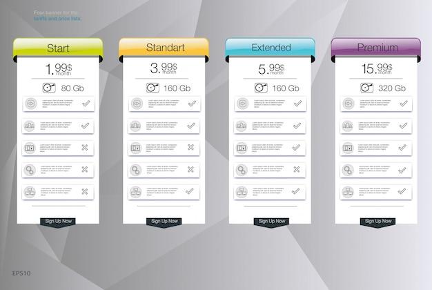 Vier banner voor de tarieven en prijslijsten. webelementen. hosting plannen. voor web-app. prijstabel, banner, lijst. Premium Vector