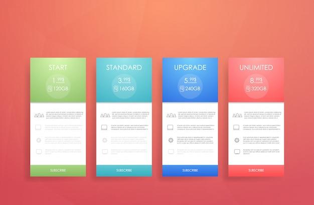 Vier banner voor de vertroebelde luchtdienst. prijslijst, hostingplannen en webboxen Premium Vector