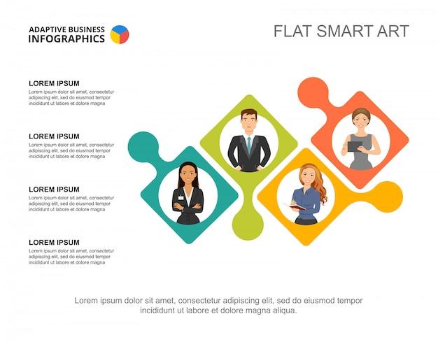 Vier collega's verwerken grafieksjabloon voor presentatie. visualisatie van bedrijfsgegevens. Gratis Vector