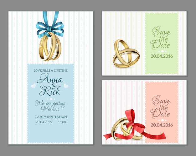 Vier de kaarten van het uitnodigingshuwelijk Gratis Vector