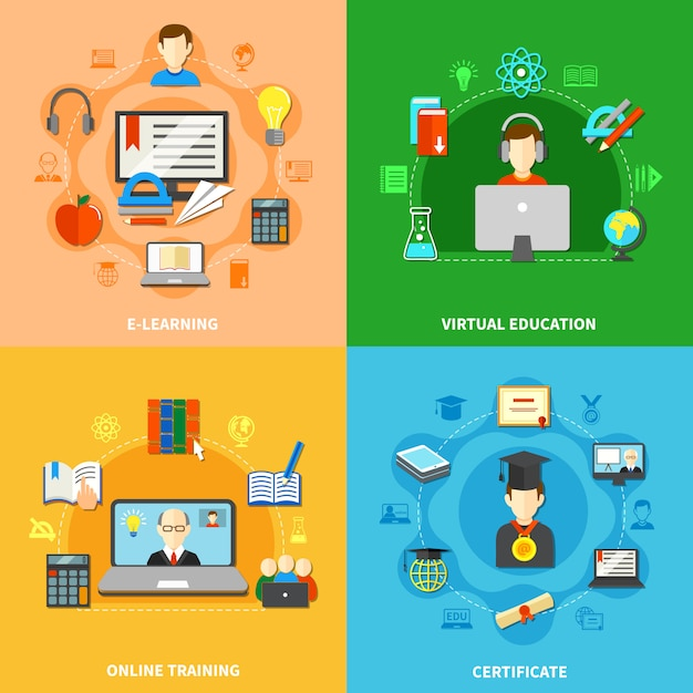 Vier e-learning icon set Gratis Vector