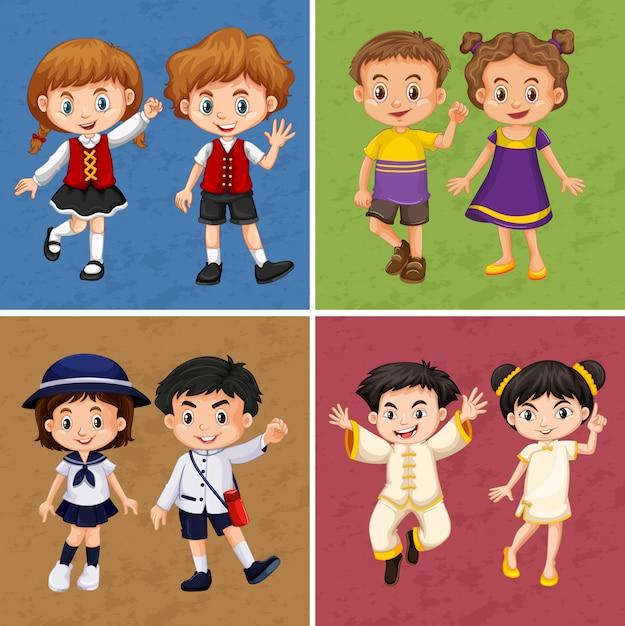Vier frames van kinderen uit verschillende landen Gratis Vector