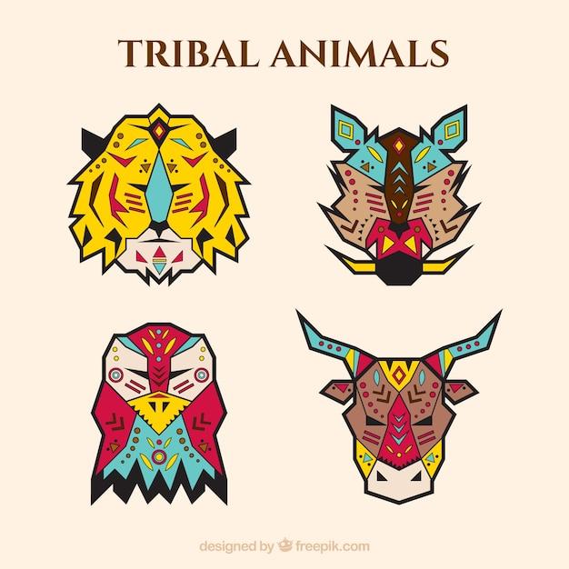 Vier geometrische dieren in etnische stijl Gratis Vector