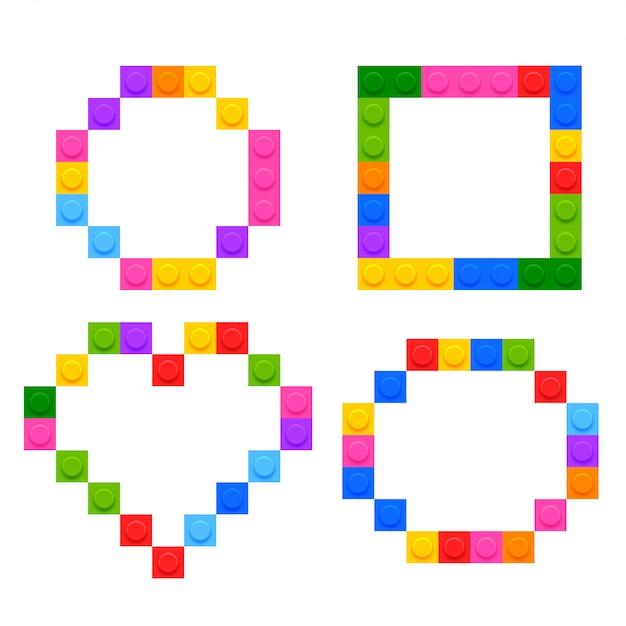 Vier geometrische vormen gemaakt door plastic speelgoedblokken Gratis Vector