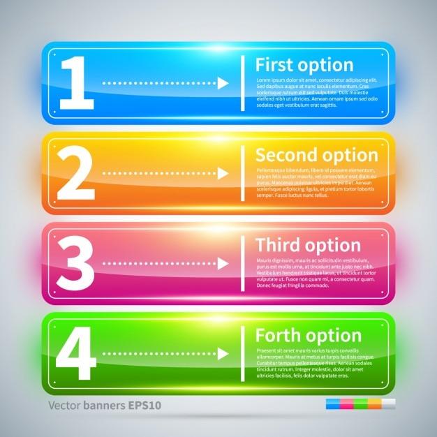 Vier glanzende kleurrijke banners met opties Gratis Vector
