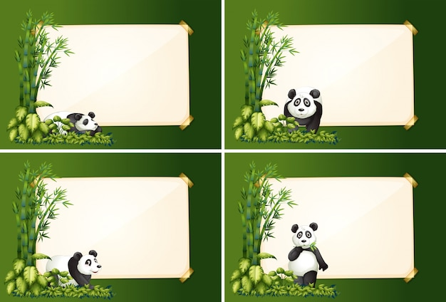 Vier grenssjablonen met panda en bamboe Gratis Vector