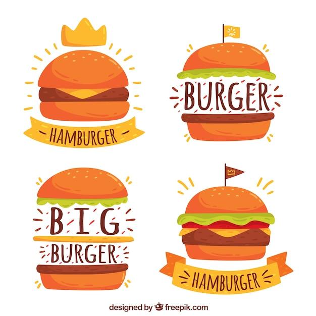 Vier hamburgerlogo's in handgetekende stijl Gratis Vector