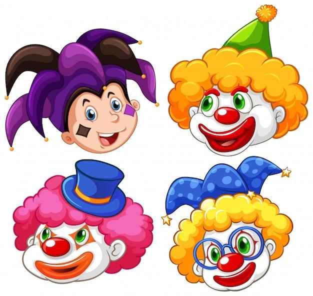 Vier hoofden van grappige clown op witte achtergrond Gratis Vector