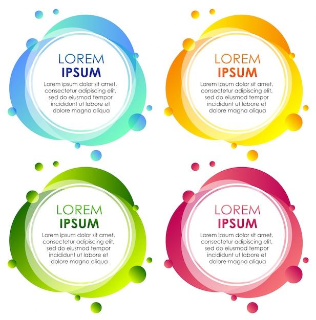 Vier insignes in verschillende kleuren Gratis Vector