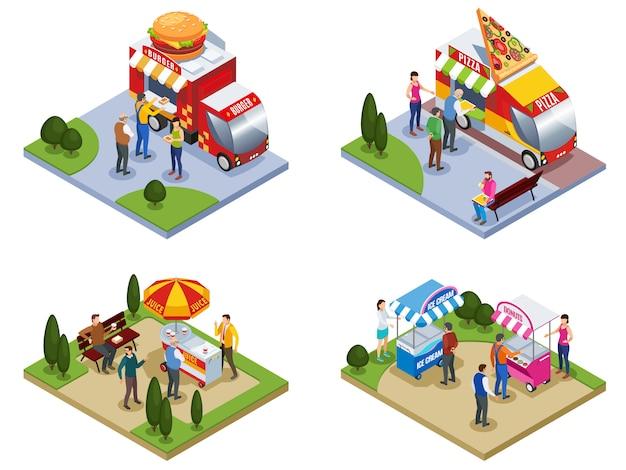 Vier isometrische in openlucht samenstellingen met mensen dichtbij de vrachtwagens die van het straatvoedsel het hamburgerijs van pizzaburgers leveren vectorillustratie Gratis Vector