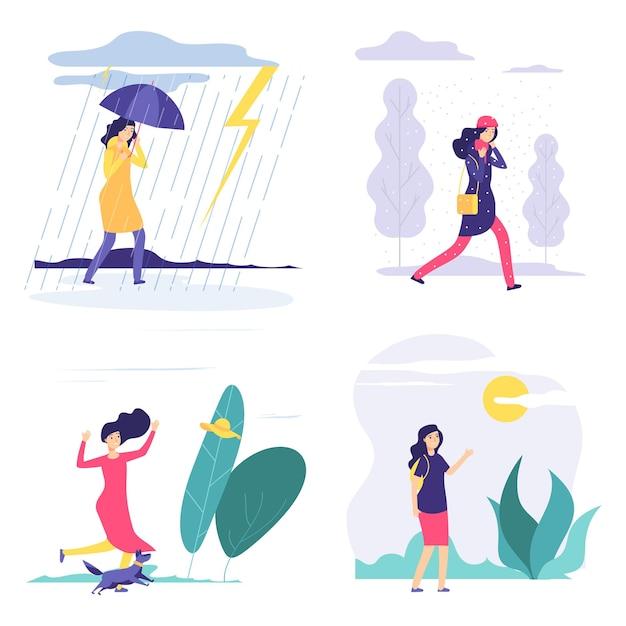 Vier jaargetijden. vrouw verschillende weer illustratie. vector herfst zomer winter lente concept met platte meisje. seizoen vier, meisje in regen of sneeuw Premium Vector