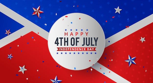 Vier juli. vakantie banner. usa independence day banner. Premium Vector