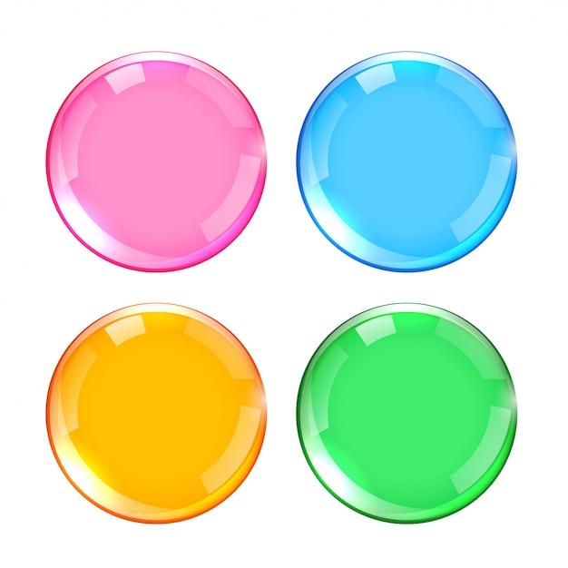 Vier kleuren glanzende glanzende knoppen set Gratis Vector