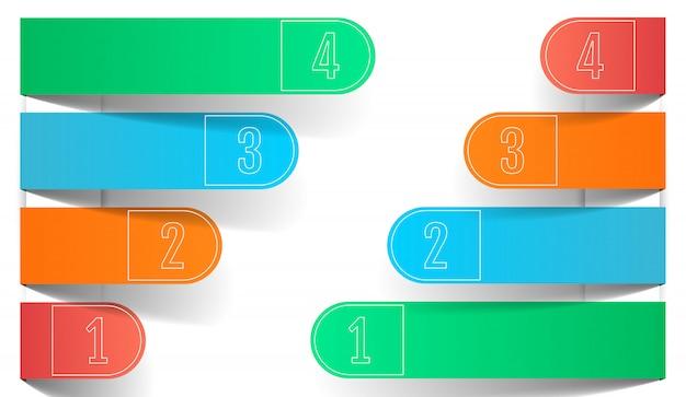 Vier kleuren zakelijke infographics, papier afgeronde pijlen. Premium Vector