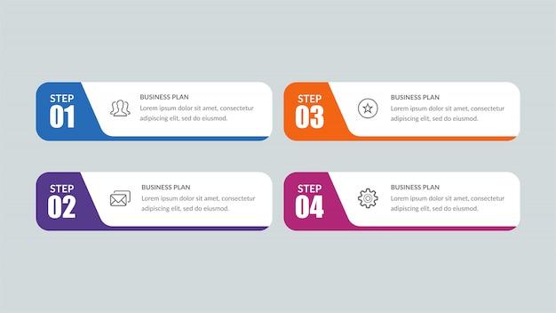 Vier lijst infographic Premium Vector
