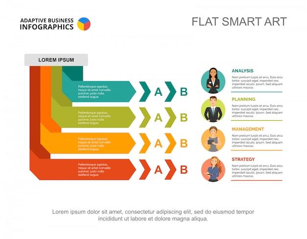 Vier managers verwerken grafieksjabloon voor presentatie. visualisatie van bedrijfsgegevens. Gratis Vector