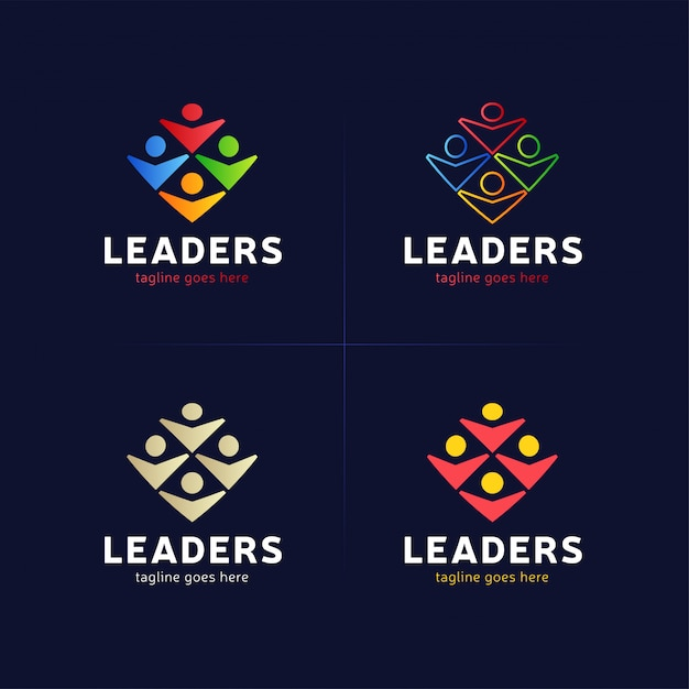 Vier menselijke groep met leider of baas pictogram logo element. Premium Vector