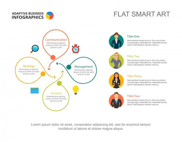 Vier opties workflow proces grafieksjabloon voor presentatie. visualisatie van bedrijfsgegevens Gratis Vector