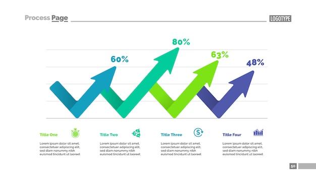 Vier pijlen percentage grafieksjabloon. bedrijfsgegevens. abstracte elementen van diagram Gratis Vector