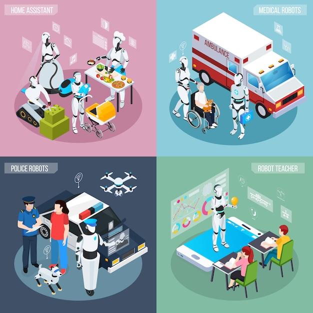 Vier robot isometrische beroepen icon set thuisassistent medische en politie robots en leraar beschrijvingen Gratis Vector