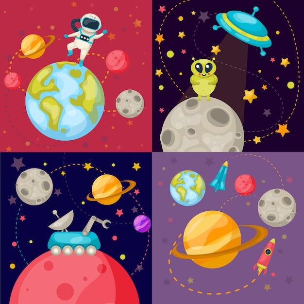 Vier ruimte icon set Gratis Vector