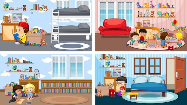 Vier scènes met kinderen die boek in illustraties van verschillende kamers lezen Gratis Vector