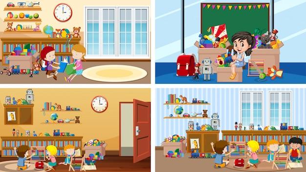 Vier scènes met kinderen in verschillende kamers Gratis Vector