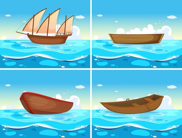 Vier scènes van boten in de oceaan Gratis Vector