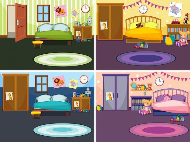 Vier scènes van de slaapkamer met verschillende illustraties Gratis Vector