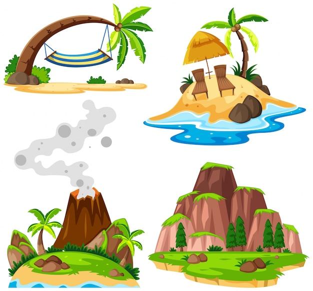 Vier scènes van eiland en strand Premium Vector