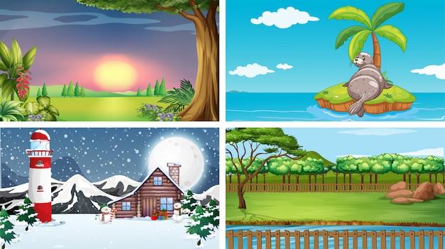 Vier scènes van verschillende locaties Gratis Vector