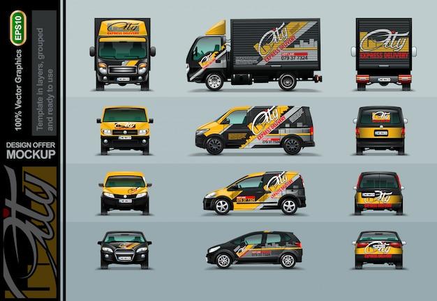 Vier soorten auto's in drie posities. Premium Vector