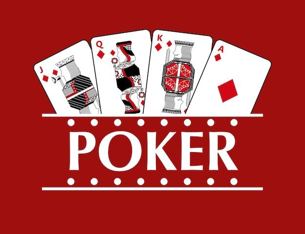 Vier spelende pokervaandel van diamantkaarten Premium Vector
