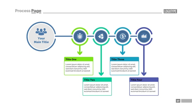 Vier stappen dia-sjabloon procesgrafiek. bedrijfsgegevens. stroomdiagram, diagram Gratis Vector