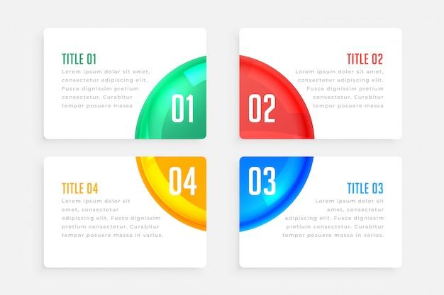 Vier stappen elegante infographic sjabloon Gratis Vector