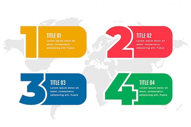 Vier stappen infographics sjabloonontwerp Gratis Vector
